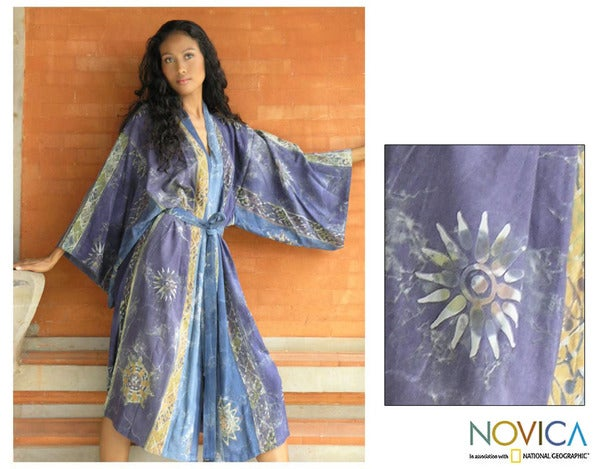 Women's Batik 'Midnight In Blue' Robe (Indonesia)