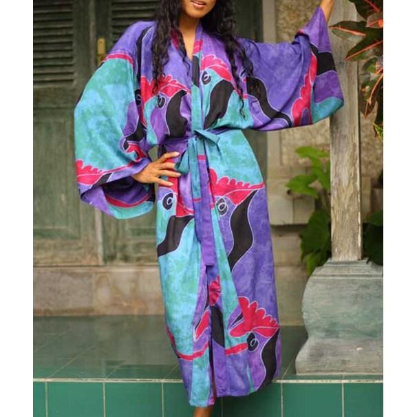 Women's Batik 'Turquoise Ocean' Robe (Indonesia)