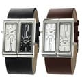 Geneva Platinum Men&#39;s Dual-face Genuine Leather Watch