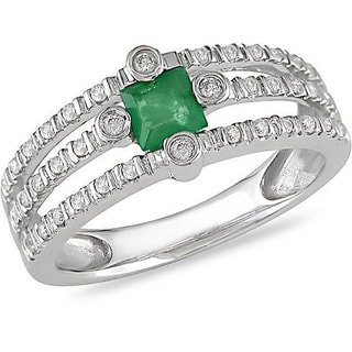 Miadora 14k Gold Emerald and 1/5ct TDW Diamond Ring