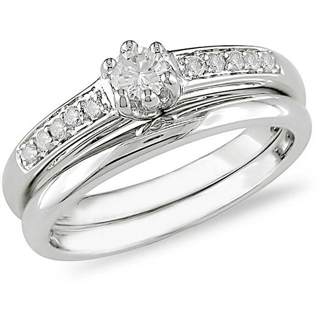 14k White Gold 1/4ct TDW Diamond Bridal Rings Set (H-I, I1-I2)