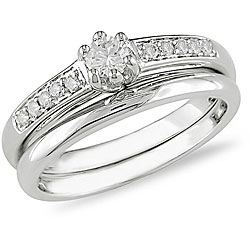 14k White Gold 1/4ct TDW Diamond Bridal Rings Set (H-I, I1-I2)