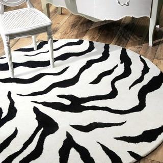 nuLOOM Handmade Animal Pattern Black/Ivory Zebra Wool Rug (6' Round)