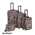 Rockland Deluxe Zebra Brown 4-piece Expandable Luggage Set