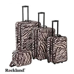 Rockland Deluxe Zebra Brown 4-piece Luggage Set