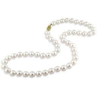 Miadora 14k Yellow Gold White Pearl Necklace (7-7.5 mm)