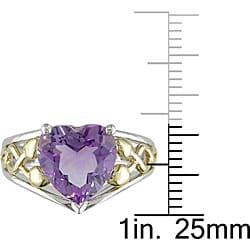 Miadora Sterling Silver and 10k Gold Amethyst Heart Ring
