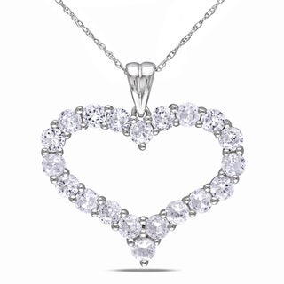 Miadora 10k White Gold Created White Sapphire Heart Necklace