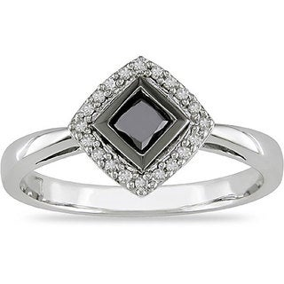 Miadora 10k White Gold 1/2ct TDW Black and White Diamond Halo Ring (I-J, I2)