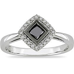 10k White Gold 1/2ct TDW Black and White Diamond Halo Ring (I-J, I2)