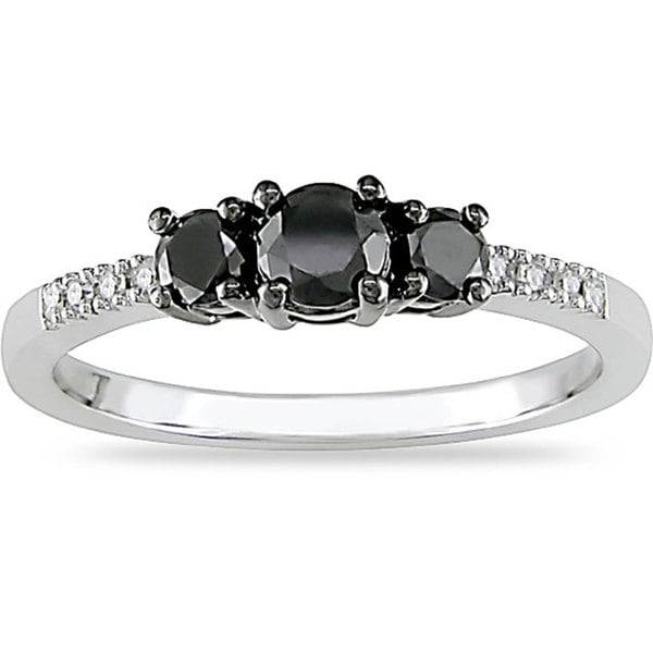 Miadora 10k Gold 1/2ct TDW Black and White Diamond Three Stone Ring (I-J, I2)