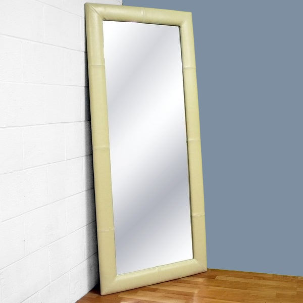 Elayne Cream Bi-cast Leather Floor Mirror
