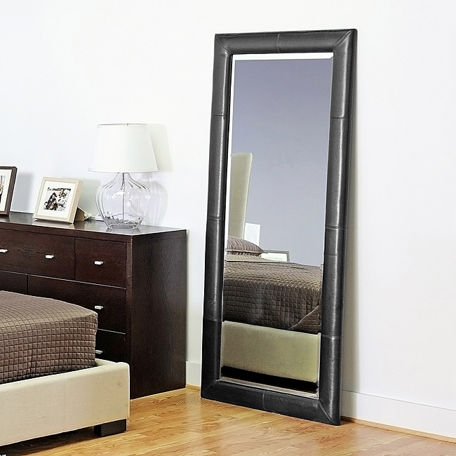 Elayne Black Bi-cast Leather Floor Mirror