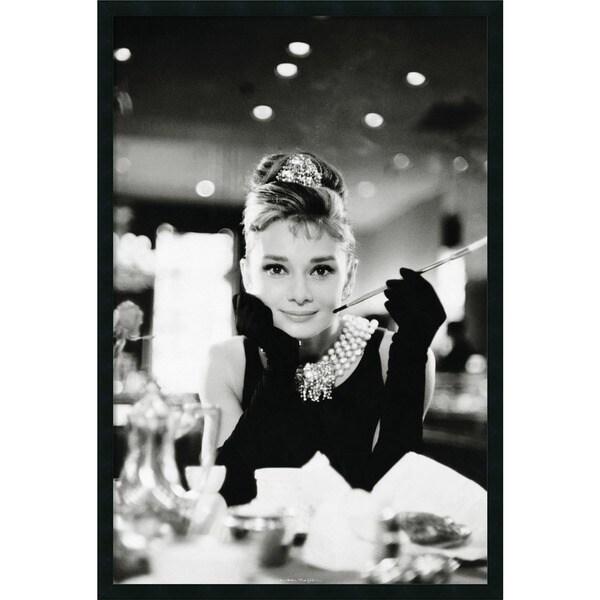 Audrey Hepburn-Breakfast at Tiffany's' Framed Art Print with Gel Coated Finish