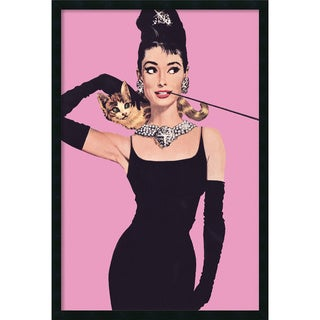 Audrey Hepburn - Pink' Framed Art Print with Gel Coated Finish