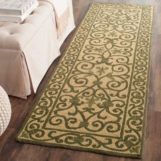 Safavieh Hand-hooked Iron Gate Yellow/ Light Green Wool Runner (2'6 x 10')