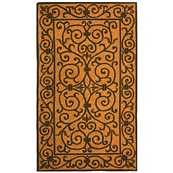Hand-hooked Iron Gate Yellow/ Light Green Wool Rug (2'9 x 4'9)