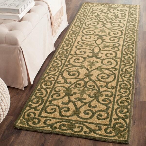 Safavieh Hand-hooked Iron Gate Yellow/ Light Green Wool Runner (2'6 x 12')