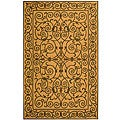 Hand-hooked Iron Gate Yellow/ Light Green Wool Rug (6' x 9')