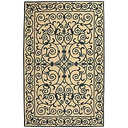 Hand-hooked Iron Gate Ivory/ Navy Blue Wool Rug (8'9 x 11'9)