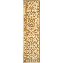 Hand-hooked Iron Gate Ivory/ Gold Wool Runner (2'6 x 12')