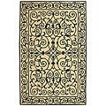 Hand-hooked Iron Gate Ivory/ Navy Blue Wool Rug (5'3 x 8'3)