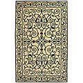 Hand-hooked Iron Gate Ivory/ Navy Blue Wool Rug (6' x 9')