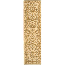 Hand-hooked Iron Gate Ivory/ Gold Wool Runner (2'6 x 6')
