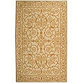 Hand-hooked Iron Gate Ivory/ Gold Wool Rug (6' x 9')