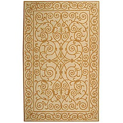 Hand-hooked Iron Gate Ivory/ Gold Wool Rug (8'9 x 11'9)