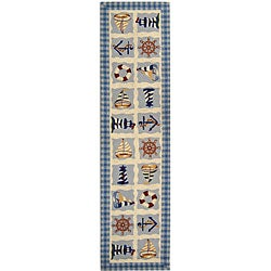 Hand-hooked Sailor Ivory Wool Runner (2'6 x 6')