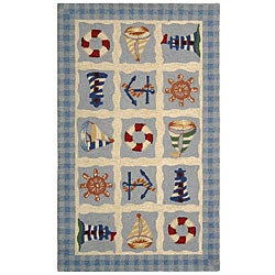Hand-hooked Sailor Ivory Wool Rug (2'9 x 4'9)