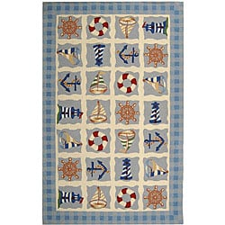 Hand-hooked Sailor Ivory Wool Rug (5'3 x 8'3)