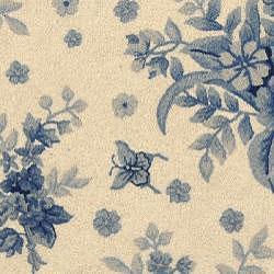 Safavieh Hand-hooked Flov Ivory/ Blue Wool Rug (4' Round)
