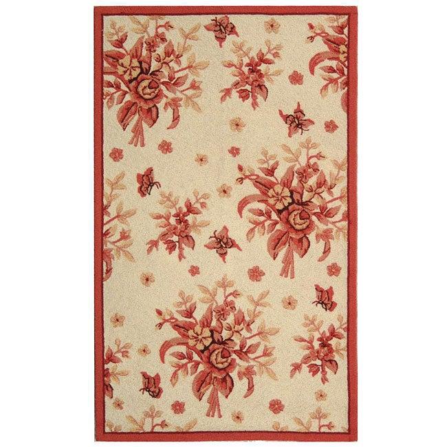 Safavieh Hand-hooked Flov Ivory/ Rose Wool Runner (2'6 x 4')