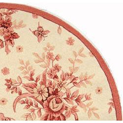 Hand-hooked Flov Ivory/ Rose Wool Rug (5'6 Round)