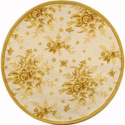 Hand-hooked Flov Ivory/ Gold Wool Rug (3' Round)