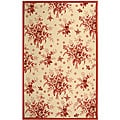 Hand-hooked Flov Ivory/ Rose Wool Rug (7'9 x 9'9)