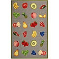 Hand-hooked Fruits Stone Grey Wool Rug (5'3 x 8'3)