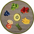 Hand-hooked Fruits Red Wool Rug (4' Round)
