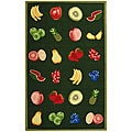 Hand-hooked Fruits Hunter Green Wool Rug (3'9 x 5'9)