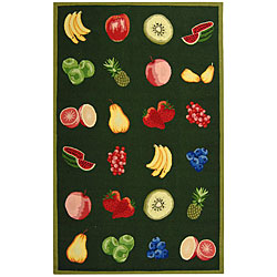Hand-hooked Fruits Hunter Green Wool Rug (5'3 x 8'3)
