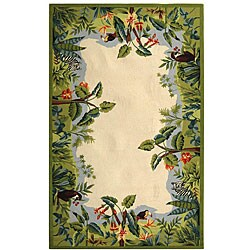 Safavieh Hand-hooked Safari Beige/ Green Wool Rug (5'3 x 8'3)