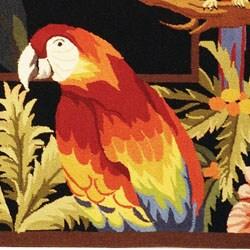 Hand-hooked Parrots Black Wool Rug (3'9 x 5'9)