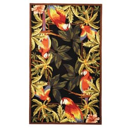 Hand-hooked Parrots Black Wool Rug (3'9 x 5'9)