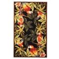 Safavieh Hand-hooked Parrots Black Wool Rug (3'9 x 5'9)