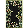 Hand-hooked Safari Black/ Green Wool Rug (6' x 9')