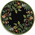 Hand-hooked Safari Black/ Green Wool Rug (3' Round)