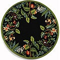 Hand-hooked Safari Black/ Green Wool Rug (4' Round)