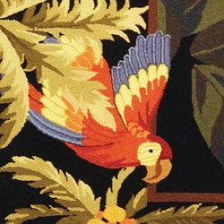 Safavieh Hand-hooked Parrots Black Wool Rug (2'9 x 4'9)